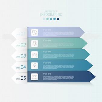 Infografia de papel azul da cor e da seta para o conceito do negócio.