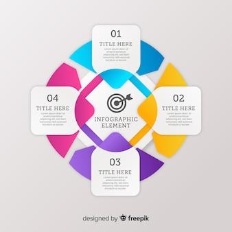 Infografia de passo colorido gradiente