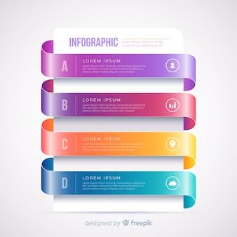 Infografia de passo colorido realista gradiente