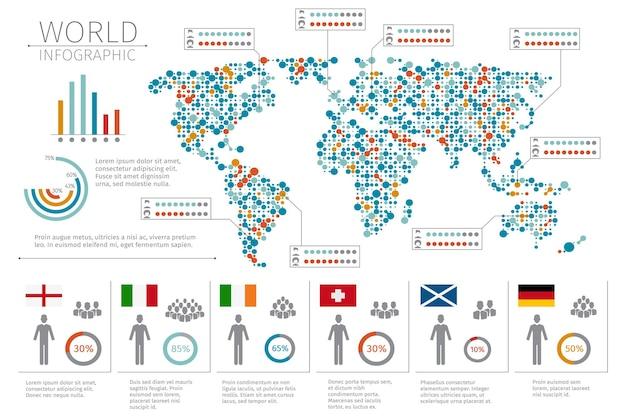 Infografia de pessoas do mundo. infográfico humano na ilustração do mapa do mundo. estatística mundial e infográfico