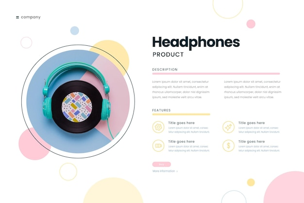 Infografia de produto com foto de fones de ouvido