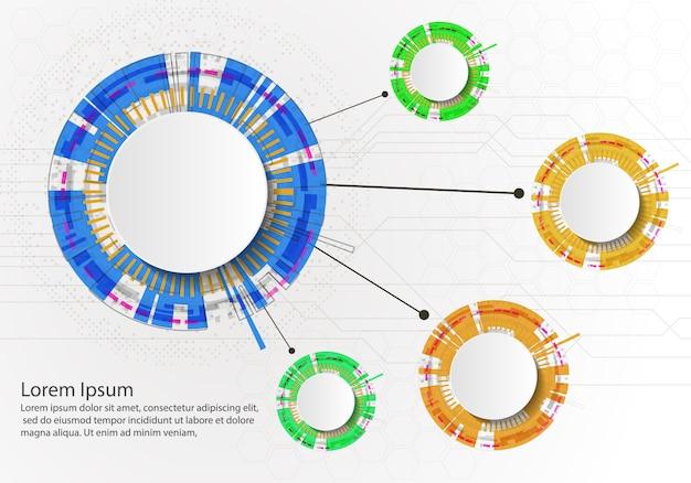Infografia de quatro etapas com círculos