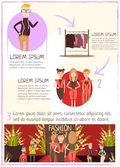 Infografia de revisão de evento de moda