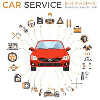Infografia de serviço de carro. reparação de ícones plana, manutenção, serviços de assistência automóvel. ilustração vetorial isolada