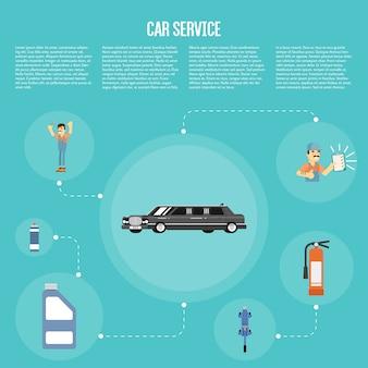 Infografia de serviço de carro