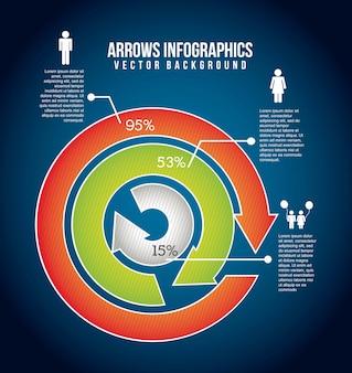 Infografia de setas sobre ilustração vetorial de fundo azul