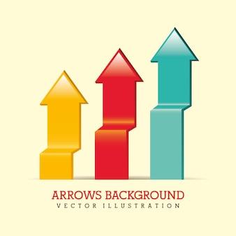 Infografia de setas sobre ilustração vetorial de fundo bege