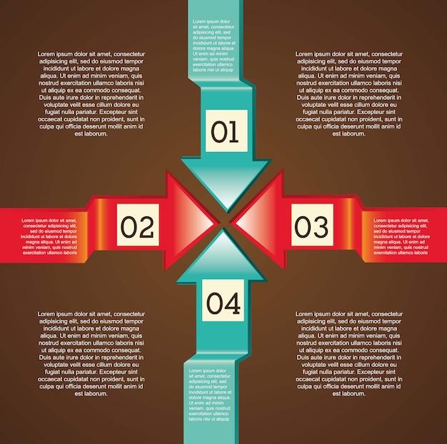 Infografia de setas sobre ilustração vetorial de fundo marrom