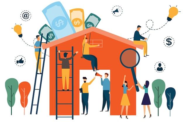 Infografia de trabalho em casa. as pessoas constroem casa para casa e negócios inteligentes.