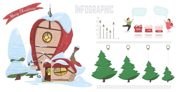 Infografia de vetor de desenhos animados de férias de natal