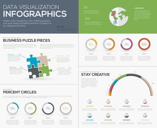 Infografia de visualização de dados modernos com peças de serra de vaivém