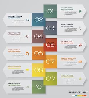 Infografia design com cronograma de seta de 10 passos.