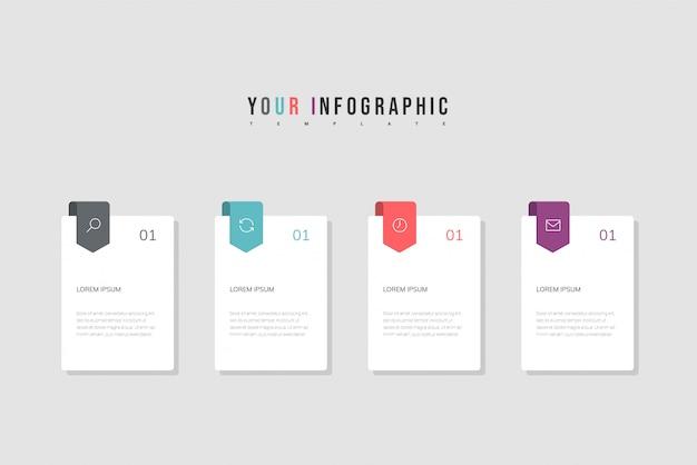 Infografia design e ícones de marketing. conceito de negócio, com quatro opções, etapas ou processos.
