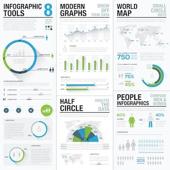 Infografia do mapa mundial e elementos do vetor de visualização de negócios