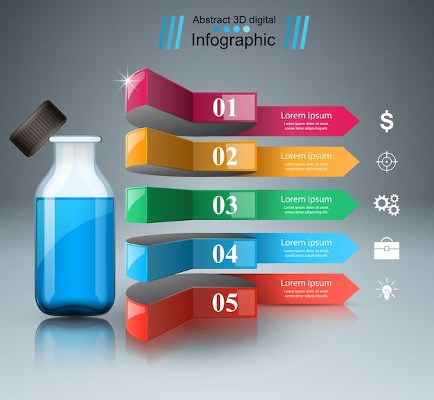 Infografia do negócio. frascos de medicamentos, ícone de receita.