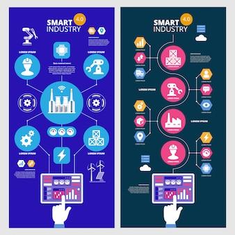 Infografia indústria inteligente 4.0. inteligência artificial. conjunto de bandeiras de vetor.