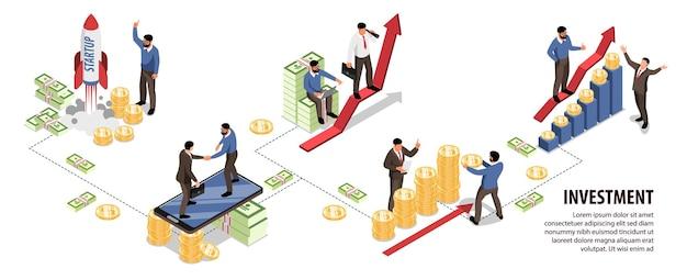 Infografia isométrica de investimento com pequenos personagens lançando projeto de negócios