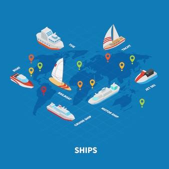 Infografia isométrica de navios
