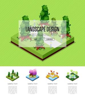 Infografia isométrica de paisagem natural