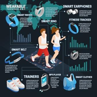 Infografia isométrica de tecnologia wearable definida com pessoas em execução e gadgets digitais