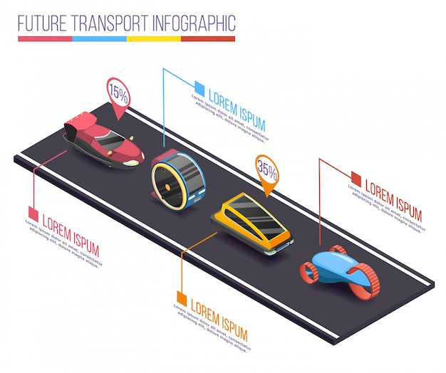 Infografia isométrica de veículos futuristas