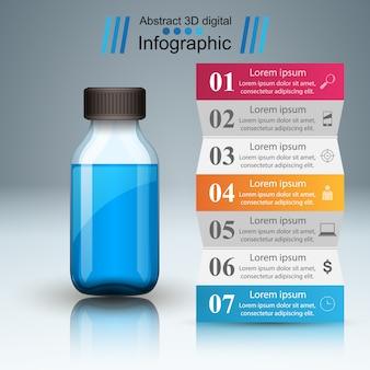 Infografia médica. garrafa com receita médica