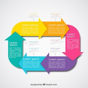 Infografia moderna com setas coloridas