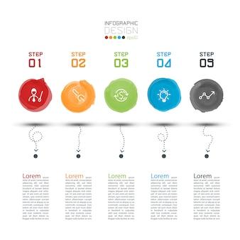 Infografia moderna etiqueta aquarela