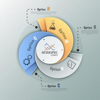 Infografia moderna faixa de opções em espiral