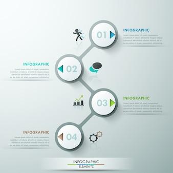 Infografia moderna modelo de processo com 4 círculos de papel