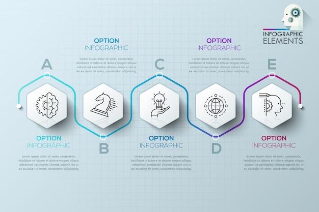 Infografia moderna modelo de processo com polígonos de papel para 5 passos
