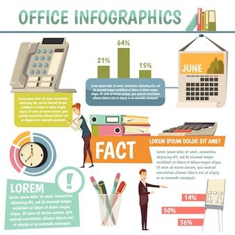 Infografia ortogonal de escritório