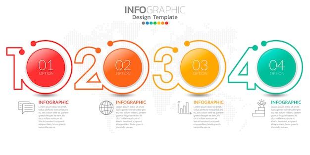 Infografia para o conceito de negócio com ícones e opções ou etapas.