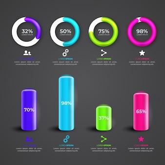 Infográfico 3d brilhante coleção