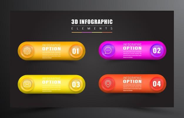 Infográfico 3d com elemento de 4 cores