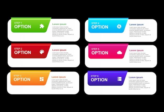 Infográfico 3d com modelo de design de opções
