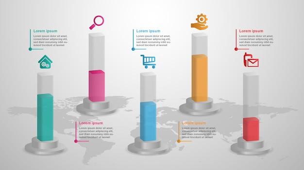 Infográfico 3d conceito de negócio de barras com 5 opções