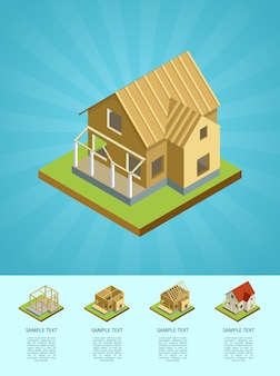 Infográfico 3d isométrico de engenharia imobiliária
