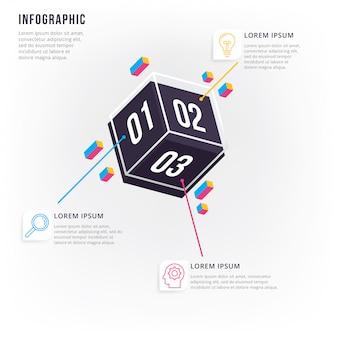 Infográfico 3d moderno e mínimo