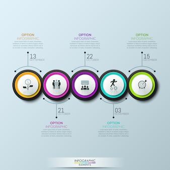Infográfico 5 elementos circulares multicoloridos com pictogramas
