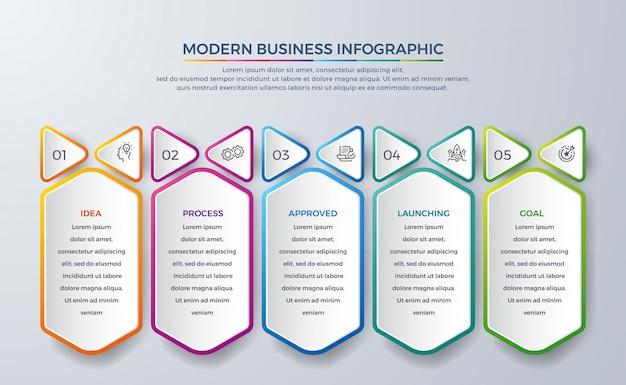 Infográfico abstrato com 5 processo ou etapas.