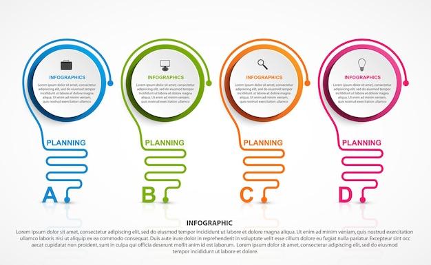 Infográfico abstrato com infográficos de lâmpada