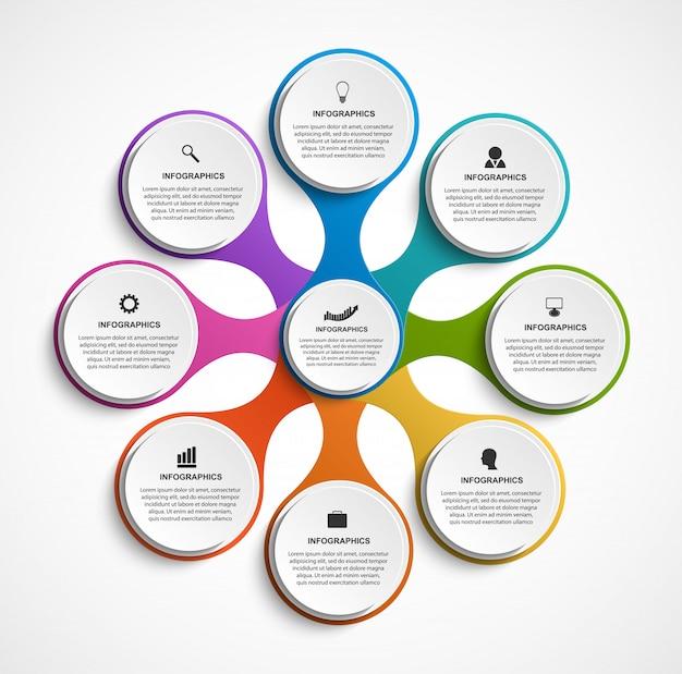 Infográfico abstrato com oito opções compostas de metabols.