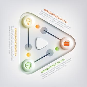 Infográfico abstrato de negócios na web com triângulo de três etapas