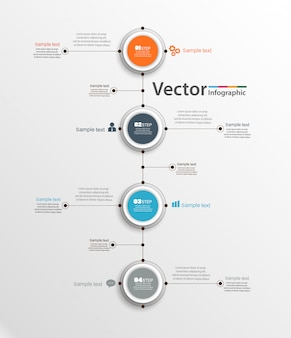 Infográfico abstrato modelo com quatro etapas para o sucesso