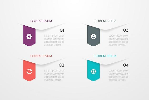 Infográfico abstrato moderno com quatro etapas ou elementos de processos. conceito de negócios. ilustração.