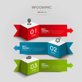 Infográfico atraente com cubos 3d e elementos de setas