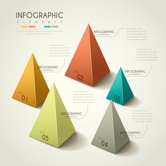 Infográfico atraente com elementos de pirâmide 3d