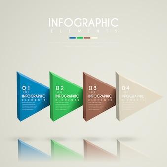Infográfico atraente com elementos de triângulos 3d