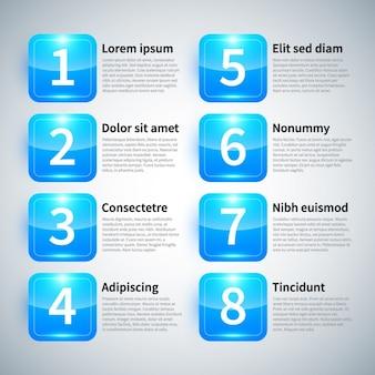 Infográfico azul brilhante com etiquetas numéricas